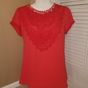 Chico's coral boho crotchet lace top size 0 small